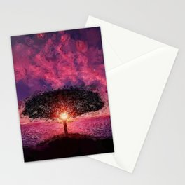 One Tree Hill seaside purple and pink sunset coastal landscape painting Stationery Cards
