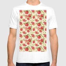 Rose pattern- cream Mens Fitted Tee MEDIUM White