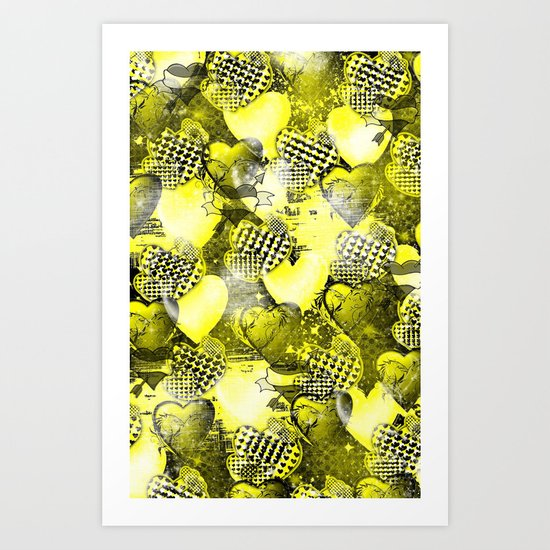 Light Bulb Hearts Series (yellow) Art Print