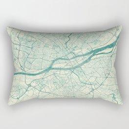 Nantes Map Blue Vintage Rectangular Pillow