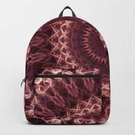 Detailed mandala in pastel red and cream tones Backpack