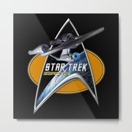 StarTrek Enterprise 1701 A  Command Signia Chest Metal Print
