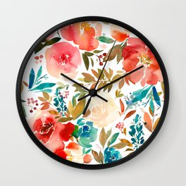 Red Turquoise Teal Floral Watercolor Wall Clock