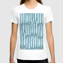 Vertical Dash Turquoise on Teal Blue T-shirt