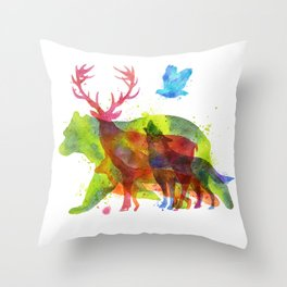 Watercolor animals save the nature Throw Pillow