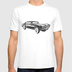 Mustang Car LARGE Mens Fitted Tee White