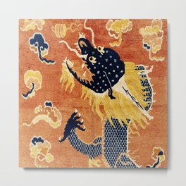 Ningxia Blue Dragon Chinese Pillar Antique Rug Print Metal Print