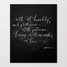 Bearing in Love // White on Black Canvas Print