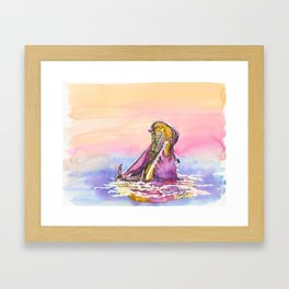 The hippopotamus / traditional watercolor painting Framed Art Print