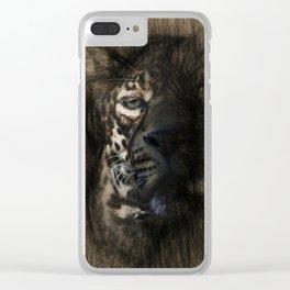 Leopard Sketch Art Clear iPhone Case
