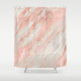 Desert Rose Gold Pink Marble Shower Curtain