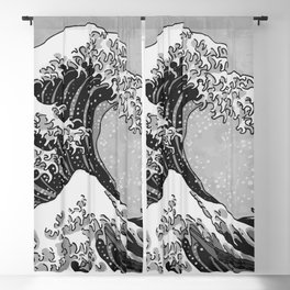 The Great Wave of Kanagawa Black and White Blackout Curtain