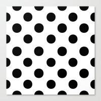 polka dots Canvas Prints featuring Polka Dots (Black/White) by 10813 Apparel