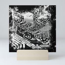 platine board conductor tracks splatter watercolor black white Mini Art Print