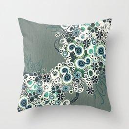 Diagonal flower – blue and green fiber Throw Pillow