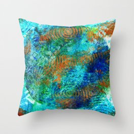 Copper beneath the waves Throw Pillow