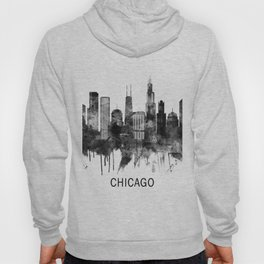 Chicago Illinois Skyline BW Hoody