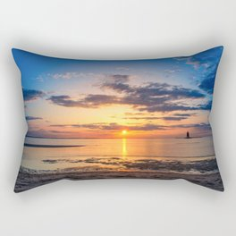 Sunset at Breakwater Lighthouse on the Beach of the Bay Rectangular Pillow