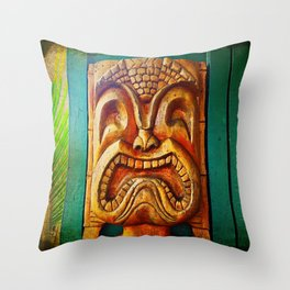 Crazy, fun, fierce, Hawaiian retro wood carving tiki face close-up photo Throw Pillow