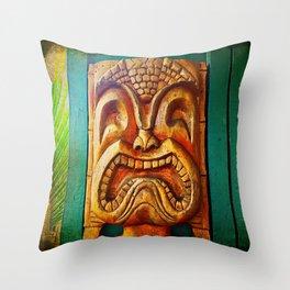 Hawaii retro wood carving tiki face close-up Throw Pillow