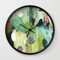 """flora bowley Wall Clocks featuring """"Fly Home"""" Original Painting by Flora Bowley by Flora Bowley"""
