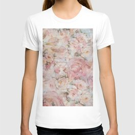 Vintage elegant blush pink collage floral typography T-shirt