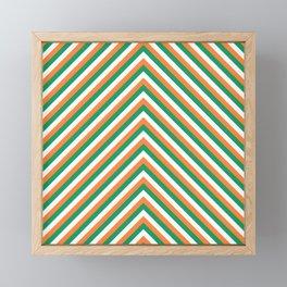 Orange White and Green Irish Chevron Stripe Framed Mini Art Print