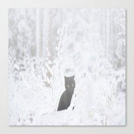 Black Cat White Snow #decor #society6 Canvas Print