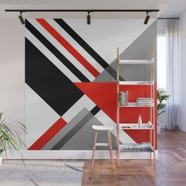 Sophisticated Ambiance - Silver & Passion Red Wall Mural