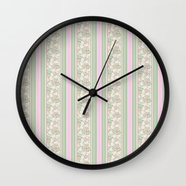Pink Dogroses on Taupe in Stripes Wall Clock
