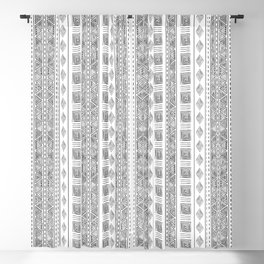 Mud Cloth White and Black Vertical Pattern Blackout Curtain