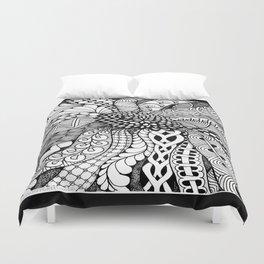 Zentangle Black and White Summer Sunflower Duvet Cover
