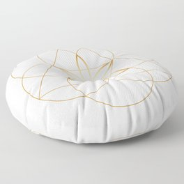 Minimalist Sacred Geometry Flower of Life in Gold and White Floor Pillow