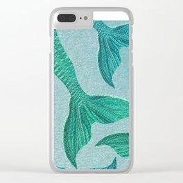 Mermaid Tails in Aquamarine Sea Clear iPhone Case