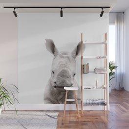 Baby Rhino Portrait Wall Mural