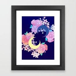 Floral Moon Framed Art Print