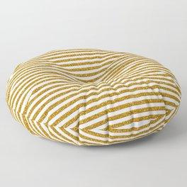 Gold Glitter Stripes Floor Pillow