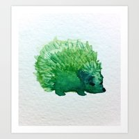hedgehog Art Prints featuring hedgehog by carrie booth