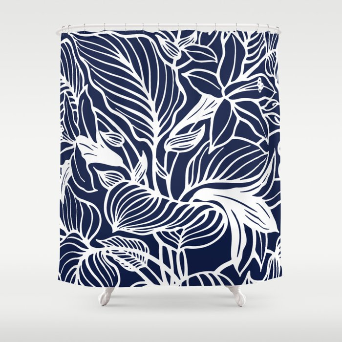 Navy Blue Floral Shower Curtain By Beautifulhomes