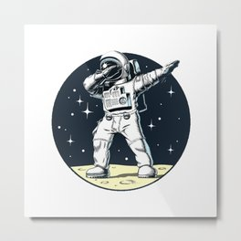 Dabbing Astronaut Funny Space Dance Metal Print