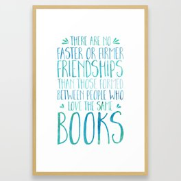 Bookish Friendship - Blue Framed Art Print