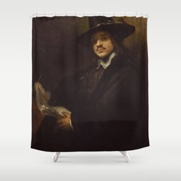 Rembrandt - Portrait of a Young Artist (1650s) Shower Curtain