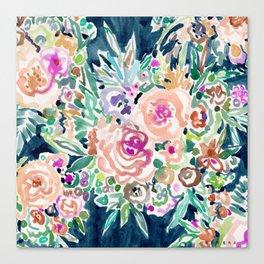 SO RICH Dark Boho Floral Canvas Print
