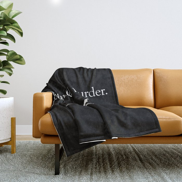 Attempted Murder (white design) Throw Blanket