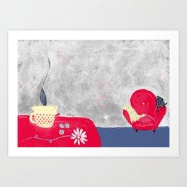 Livingroom with cat Art Print