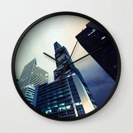 Chicago Cityscape Blue Comic-book Panel Angle High-Rise Art Wall Clock