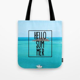 Hello Summer Typography with Turquoise Ocean Tote Bag