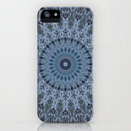 Gray and light blue mandala iPhone Case