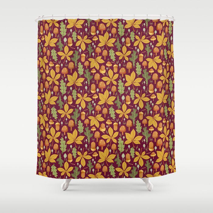 Autumn Forest Leafs and Mushrooms - Red Shower Curtain