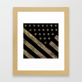 U.S. Flag: Military Camouflage Framed Art Print